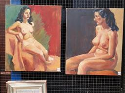 Sale 9127 - Lot 2003 - Beverley Symonds (2 works) Studio Nudes oils on canvas 61 x 51cm, each (unsigned) -
