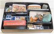 Sale 8375A - Lot 95 - A box of assorted paraphernalia including old tins, carved nuts, enamel badges etc