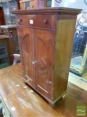 Sale 8539 - Lot 1071 - Antique Mahogany Apprentice Piece Wardrobe, with a drawer & two panel doors forming an arch (Key in Office)