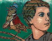 Sale 8723A - Lot 5017 - David Bromley (1960 - ) - Banjo Bird and Boy 120 x 150cm