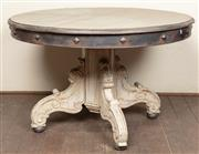 Sale 8871H - Lot 128 - A French style round top centre table with studded collar raised on grey painted pedestal base to bun feet. (crack to top) Height 78...