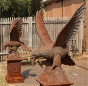 Sale 8871H - Lot 10 - A pair of cast iron eagles, height of eagles 114cm (sold separately to plinths)