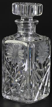 Sale 8985G - Lot 603 - Vintage Brilliant Cut Cystal Whiskey Decanter, H:23cm