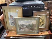 Sale 9058 - Lot 2066 - Various Artists (3 works); Still life oil painting & 2 watercolours ; frame: 30 x 40 (largest)