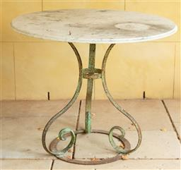 Sale 9134H - Lot 1 - A rustic French cast iron marble top table, height 76cm x Diameter 89cm Ex: Parterre Garden.