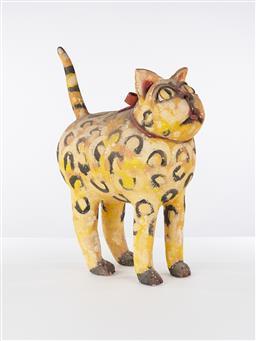 Sale 9221JM - Lot 5023 - ELS HOUWEN Untitled (Cat) painted ceramic 49 x 42 x 24 cm signed