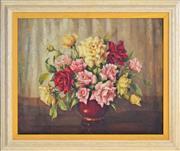 Sale 8339A - Lot 577 - Evelyn M. Baxter (1926 - 1979) - Still Life - Roses 40 x 50cm