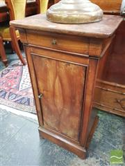 Sale 8416 - Lot 1050 - 19th Century French Walnut Bedside Cabinet, having a drawer & door with knob modelled as a clutching hand