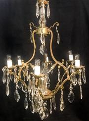 Sale 8516A - Lot 18 - A French six branch, 9 light Mercury gilded cage chandelier, an early unusual piece rewired to Australian safety standards. 78cm h...