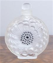 Sale 8650A - Lot 74 - A Lalique Anemone stoppered crystal perfume bottle, Height 13cm, engraved with mark.