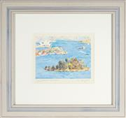 Sale 8807 - Lot 2020 - Peter Wright - Sydney Harbour, Clark Island 27.5 x 36cm (frame: 77.5 x 83cm)