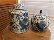 Sale 8858H - Lot 71 - Blue and Black Lily Valley Pumpkin Jar and Ginger Jar, H 23 cm; 28 cm -