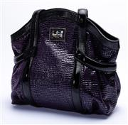 Sale 8921 - Lot 65 - AN ARMANI PATENT LEATHER AND SUEDE TOTE; purple crocodile print patent and suede leather with black patent trim and handles and gold...