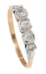 Sale 8937 - Lot 353 - A VINTAGE 18CT GOLD DIAMOND RING; platinum set with 5 Old European cut diamonds totalling approx. 0.30ct, size P, wt. 2.3g.