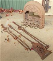 Sale 8984W - Lot 570 - A Victorian cast iron gas heater by Hordern & Sons Sydney together with fire tools