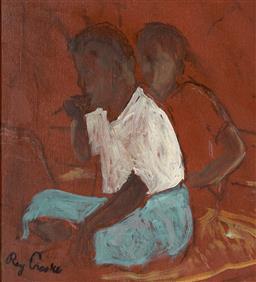 Sale 9125 - Lot 522 - Ray Crooke (1922 - 2015) Morning Break oil on canvas paper on board 23 x 21.5 cm (frame: 44 x 42 x 3 cm) signed lower left