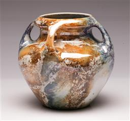 Sale 9107 - Lot 83 - A Finnish marble glazed vase with four handles (H 15cm)