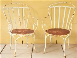 Sale 9134H - Lot 2 - A pair of French wrought iron chairs, height of back 90cm x Width 56cm Ex Parterre Garden.
