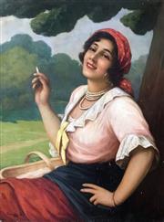 Sale 8655A - Lot 5005 - Bela Czalany (1879 - 1948) - Smoking Gypsy 79 x 59cm