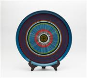 Sale 8770 - Lot 93 - A brightly painted enamel tray, Italian Circa 1970, diameter 44cm