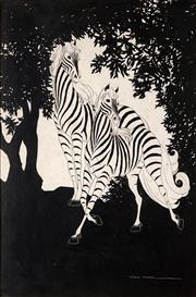 Sale 8822A - Lot 5010 - Lesbia Thorpe (1919 - 2009) - Zebras 52.5 x 35cm