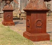 Sale 8871H - Lot 11 - A pair of cast iron plinths, height 63cm