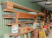 Sale 8984W - Lot 590 - A vast makeshift shelving unit comprising Oregon and other timbers approx. 17 long lengths of hardwood (longest 4m) together with sp...