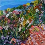 Sale 8992 - Lot 510 - Carmel Nicholson (1930 - ) - Flowering Trees 101.5 x 101.5 cm (total: 101.5 x 101.5 x 3 cm)