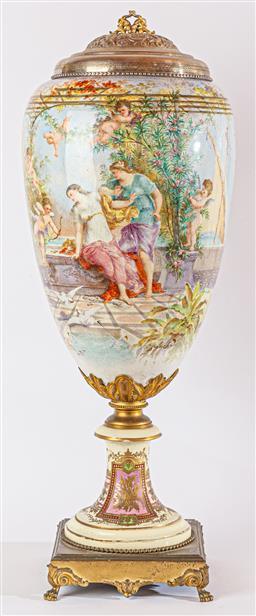 Sale 9093 - Lot 28 - C19th Large Continental Porcelain Revolving Vase On Bronze Base, signed CK Fuchs, With Associated lid. Ht 100cm. Prov; Col Parker.
