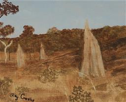 Sale 9141 - Lot 587 - Ray Crooke (1922 - 2015) Termite Mounds, Nth QLD oil on board 19.5 x 24.5 cm (frame: 37 x 43 x 3 cm) signed lower left