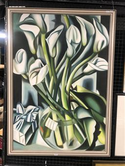 Sale 9152 - Lot 2021 - Artist Unknown Arum Lillies (After Lempicka), oil, frame: 106 x 76 cm, -