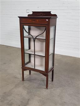 Sale 9196 - Lot 1051 - Edwardian Mahogany Display Cabinet, with painted floral decoration, single astragal door & raised on square legs (h134 x w60 x d39cm)