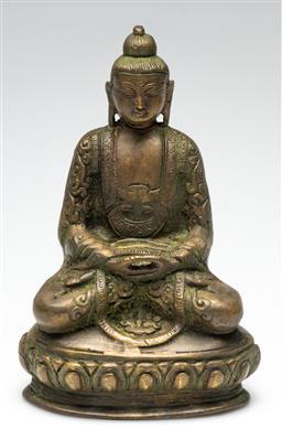Sale 9211 - Lot 47 - A Bronze Chinese Sitting Buddha (H:20cm)