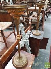 Sale 8416 - Lot 1051 - Pair of Tall Turned Brass Stands