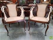 Sale 8485 - Lot 1060 - Pair of Victorian Inlaid Mahogany Parlour Chairs, with pierced backs upholstered in dusty pink velvet & on cabriole legs