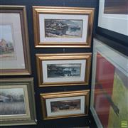 Sale 8640 - Lot 2026 - G Boni (3 works) - Italian Coastal Scenes with Boats, oils on board, each 30 x 45cm (frame) and signed lower -