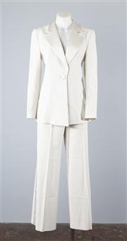 Sale 8685F - Lot 5 - An Emporio Armani womens ivory tuxedo suit jacket and pants, with satin lapel and trim to pants, Italian made, size IT 40