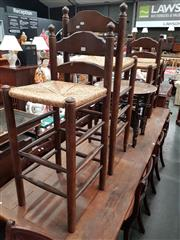 Sale 8700 - Lot 1047 - Set of 4 Rush Seat barstools