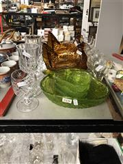 Sale 8819 - Lot 2470 - Collection Of Glassware Including Green Strawberry Setting, Lidded Chicken Pots And Wine Glasses