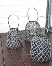 Sale 8858H - Lot 88 - Set of Three Lobster Basket Lanterns, H 27 x D 24 cm (2); H 33 x D 30 cm -