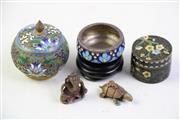 Sale 8997A - Lot 676 - A Closoinne Lidded Vase Together with 2 Others and 3 Small Bronze Figures