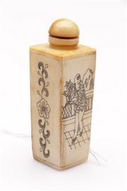 Sale 9052 - Lot 388 - Floral and children themed bone snuff bottle (H8.5cm)