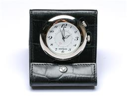 Sale 9093 - Lot 89 - A Mont Blanc Mini Leather-Black Travelling Alarm Clock (Model no. MP203361, Individual no.AL203361)