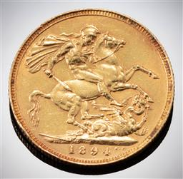 Sale 9153C - Lot 310 - 1894 ENGLISH SOVEREIGN; Queen Victoria, 22ct gold, wt. 7.98g.