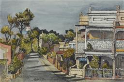Sale 9170A - Lot 562 - CEDRIC EMANUEL (1906 - 1995) Old Terraces,Hoddle Street, Paddington, 1991 watercolour 33 x 50 cm (frame: 53 x 71 x 2 cm) signed and ...