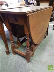 Sale 8485 - Lot 1064 - Oak Gateleg Table, with baluster turned legs & frieze drawer