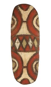 Sale 8770 - Lot 58 - A large and decorative Mendi war shield, Papua New Guinean, H x 139cm