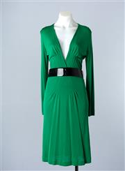 Sale 8782A - Lot 160 - A Gucci 3/4 length midi dress in emerald green with patent black belt, size M
