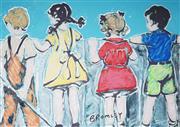 Sale 9034A - Lot 5071 - David Bromley (1960 - ) - Kids Over the Fence 60 x 86 cm (frame: 80 x 106 x 4 cm)