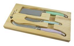 Sale 9126K - Lot 534 - Laguiole by Louis Thiers 3-Piece Cheese Set - multi-colour pastel handles